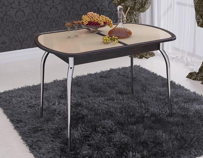 Стол раскладной стеклянный Ницца кожзам бежевый коричневая окантовка