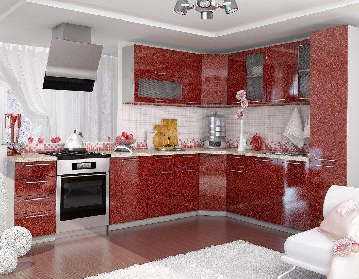 Кухонный гарнитур Олива цвет гранат металлик