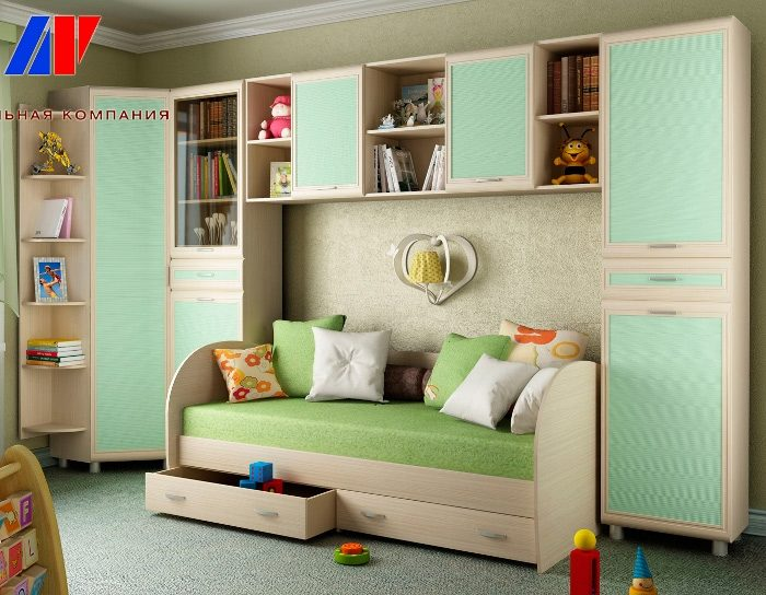Модульный детский гарнитур Ксюша цвет зеленый