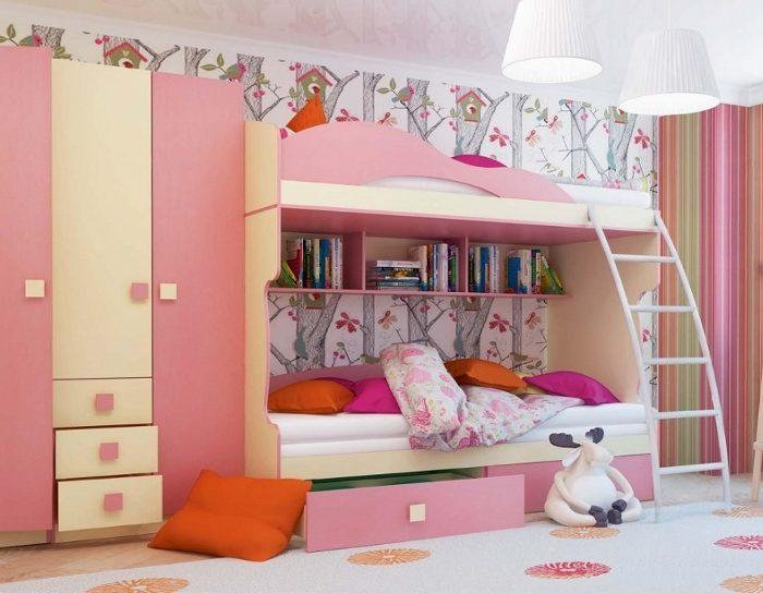 Модульная детская мебель Радуга розовая