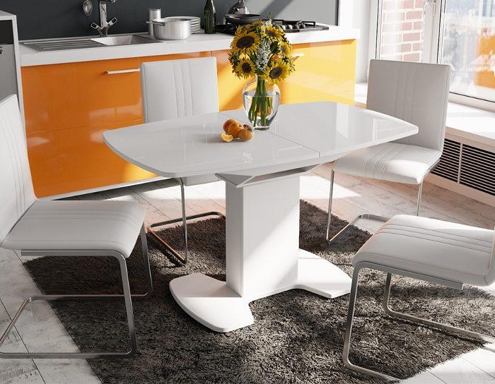 Стол раскладной стеклянный Портофино 1300 белый