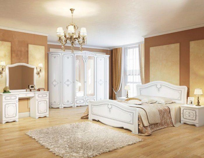 Модульная спальня Палермо белый патина серебро