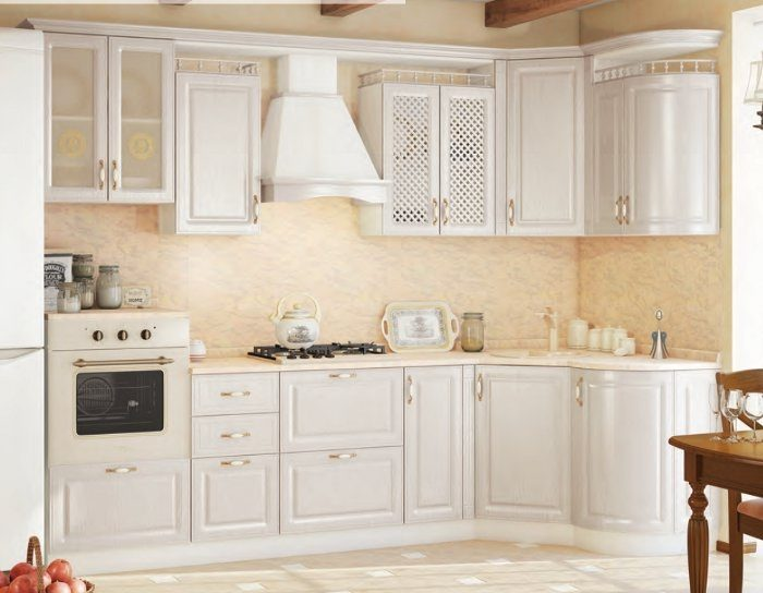 Модульный кухонный гарнитур Юлия белый жемчуг