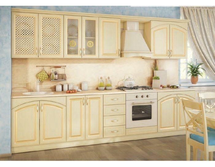 Модульный кухонный гарнитур Юлия цвет береза с патиной