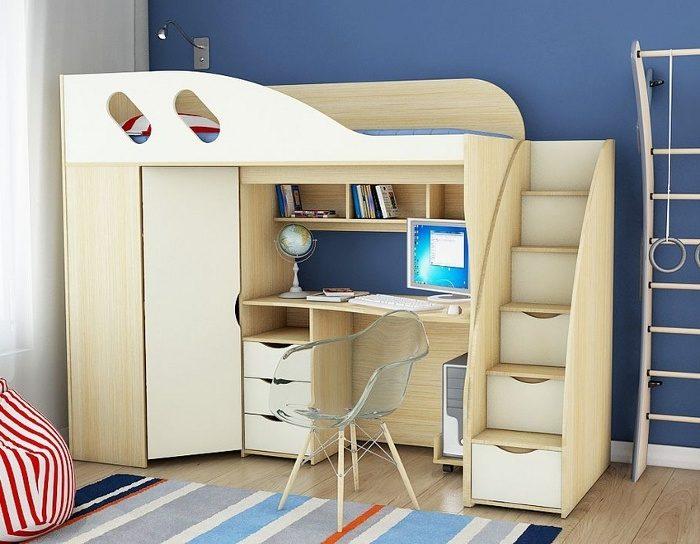 Детская кровать-чердак Школьник (4 цвета)