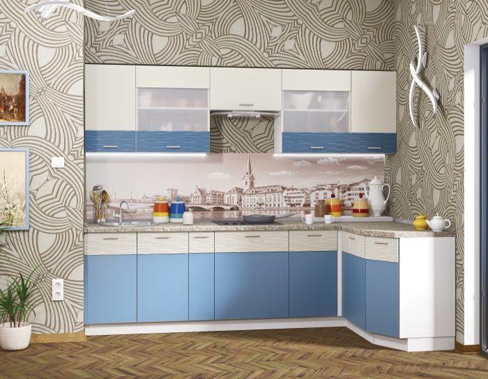 Кухня Жанна голубой металл