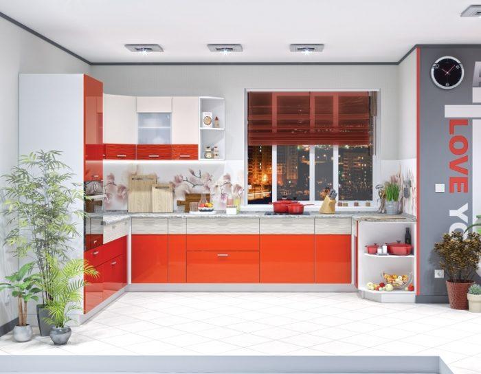 Кухня Жанна морковный металлик