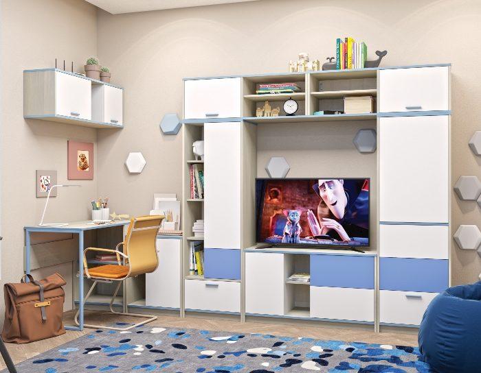 Модульная детская мебель Гольф голубой металлик