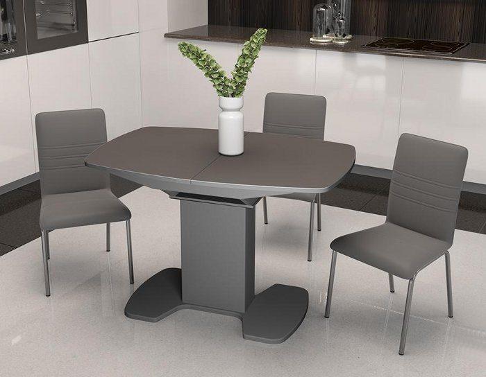 Стол раскладной стеклянный Портофино серый 1,1 метра