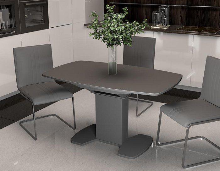 Стол раскладной стеклянный Портофино серый 1,3 метра