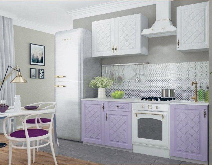 Кухонный гарнитур Гранд белый фиалка