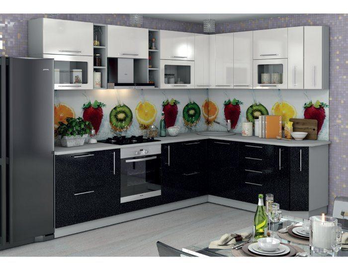 Кухонный гарнитур Олива черный белый металлик