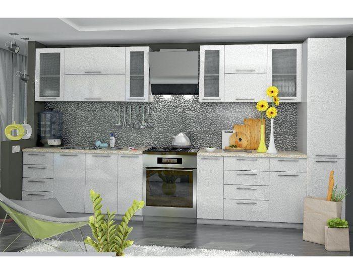 Кухонный гарнитур Олива цвет белая металлик