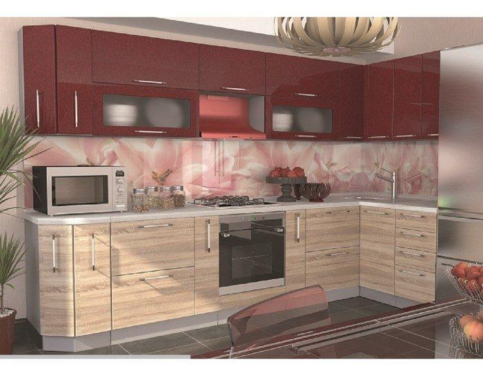 Кухонный гарнитур Олива в цвете сонома гранат