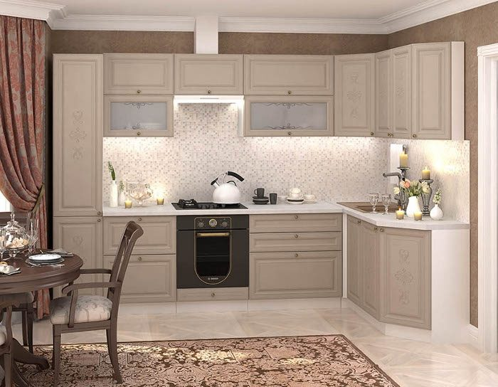Кухонный гарнитур Версаль цвет латте софт
