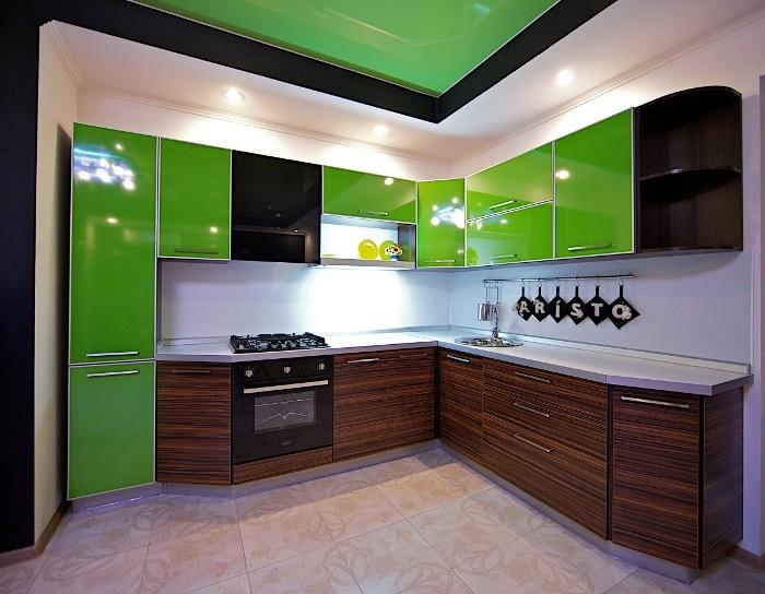 Угловые кухни в стиле хай тек фото
