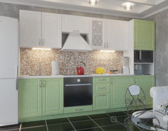 Кухонный гарнитур Парма цвет снег бирюза