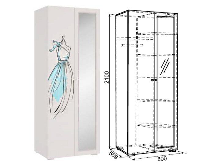 Шкаф 2-дверный Гламур