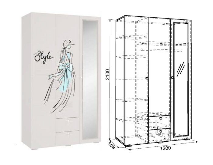 Шкаф 3-дверный Гламур