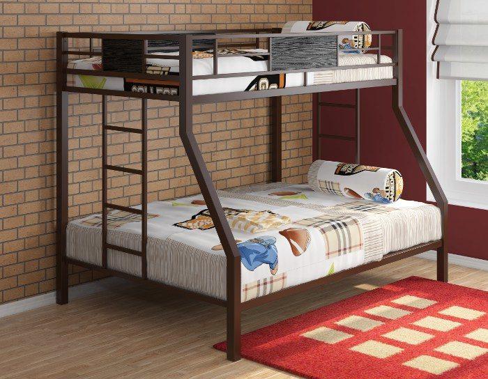 Детская кровать на металлокаркасе двухъярусная Гранада коричневая