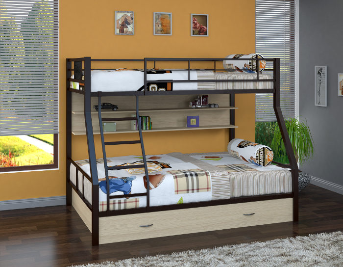 Детская кровать на металлокаркасе двухъярусная Гранада-1 ПЯ