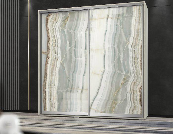 Шкаф купе Арктур стекло с печатью Оникс 1,17м