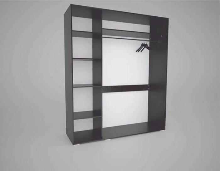Шкаф купе Арктур зеркало графит 1,52м