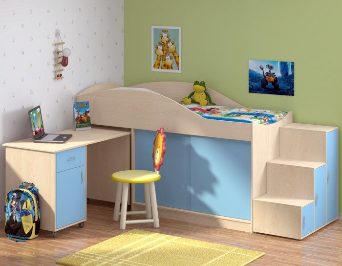 Детская кровать Дюймовочка-3+лестница Дельта 23.6