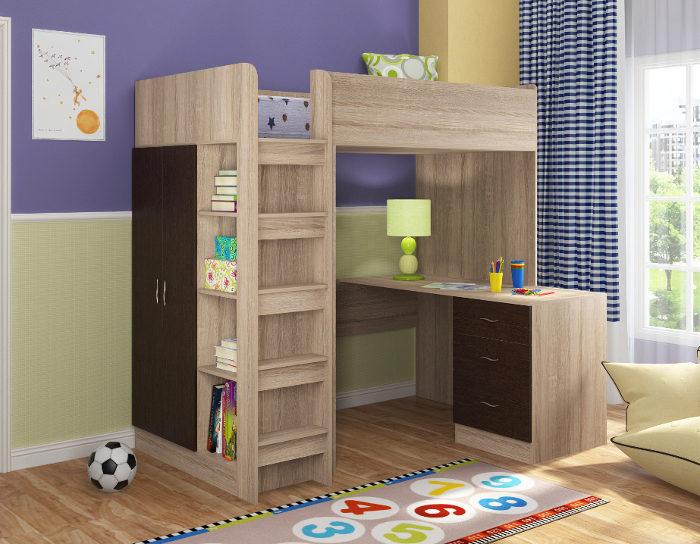 Детская кровать чердак Теремок-3