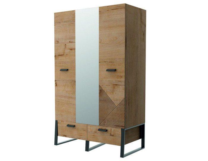 Детский шкаф Оскар 3-дверный с зеркалом ИД 01.368а