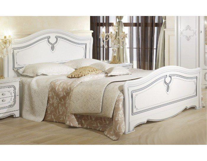 Кровать Палермо белая с патиной серебро 160
