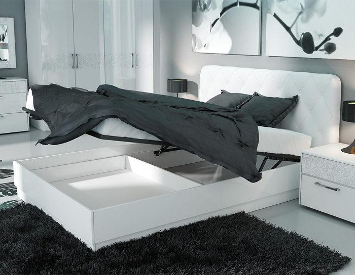 Кровать с подъёмным механизмом Амели белая