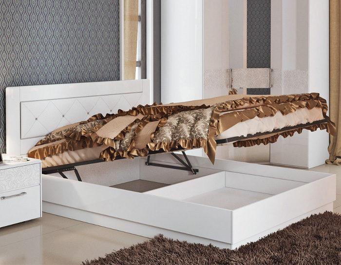 Кровать с подъёмным механизмом Амели белая со стразами