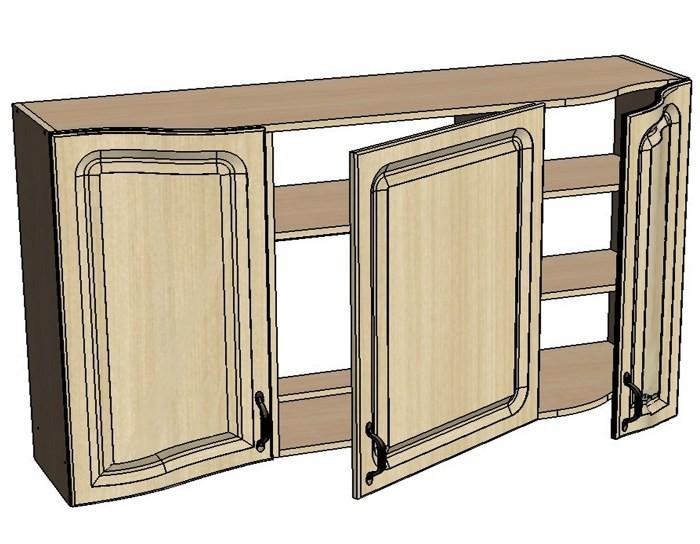 Кухонный шкаф Моника/Милана BX140 с патиной под вытяжку