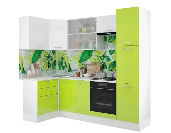 Кухонный гарнитур Люкс белый лайм