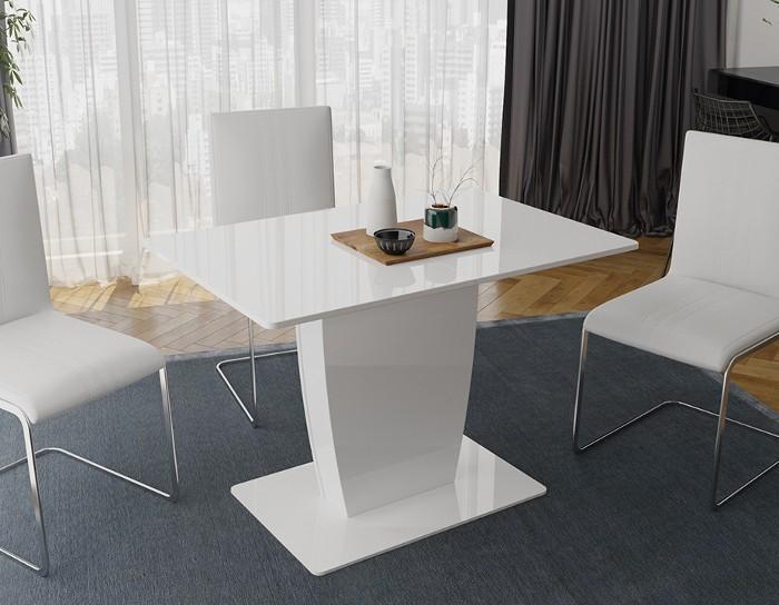 Стол обеденный раскладной Монтана белый глянец