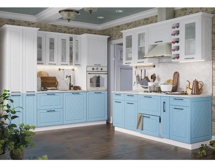 Кухонный гарнитур Барселона белый голубой