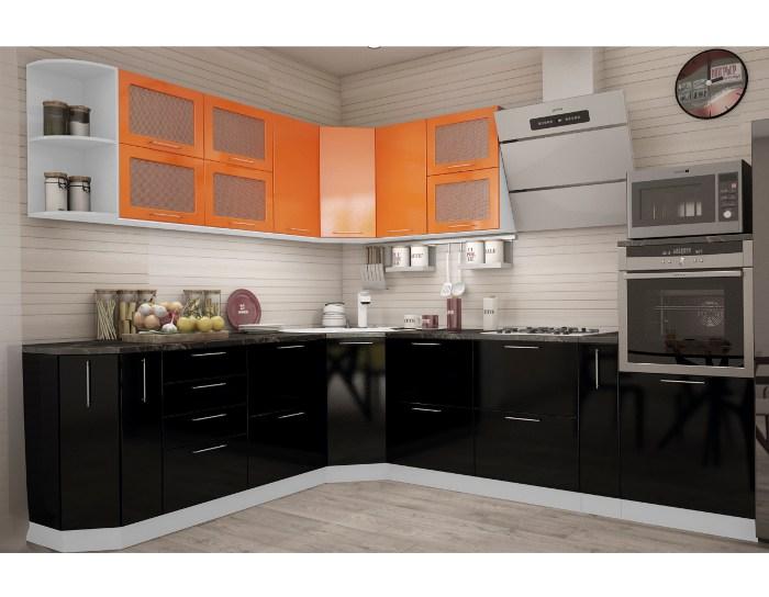 Кухонный гарнитур Олива оранжевый/черный