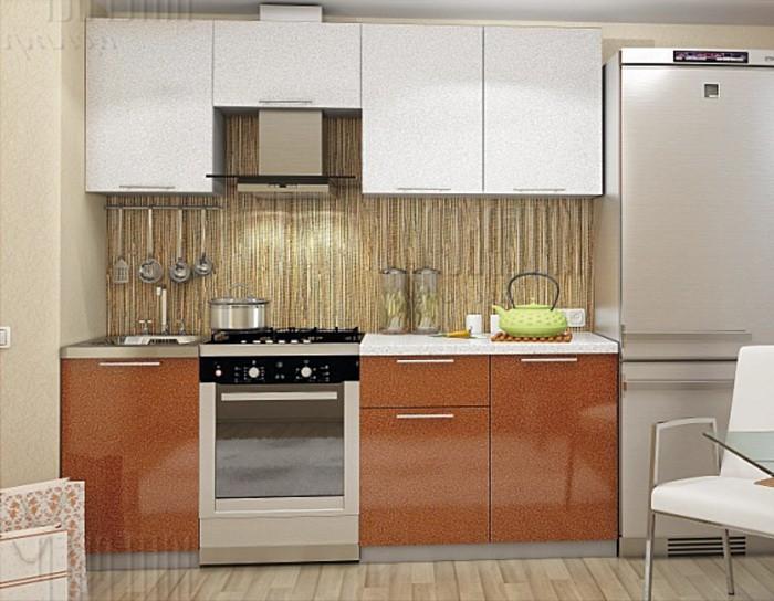 Кухонный гарнитур София белый/оранж